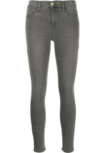 Frame Calça Jeans Skinny Cintura Alta - Cinza
