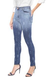Calça Jeans Mob Skinny Arabescos Azul