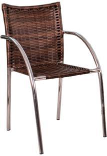 Cadeira Para Área Externa Ana Alumínio E Castanho