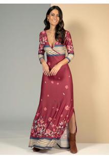 Vestido Longo Floral Bordô Com Fendas