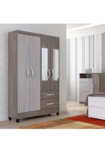 Guarda Roupa Solteiro Com Espelho 4 Portas 2 Gavetas Real Light Atualle Móveis Malbec Acetinado/Cream Acetinado