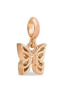 Pingente Life Enigma Borboleta Com Banho Ouro Rosé