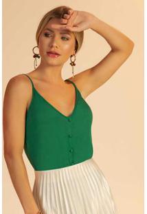 Blusa Com Alças E Botões Verde