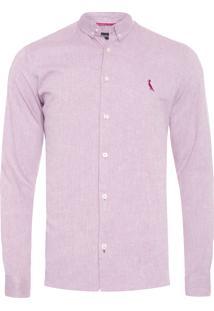 Camisa Masculina Regular Oxford Prim 19 - Vermelho
