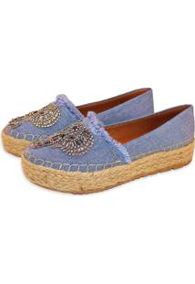Alpargata Tatiane Moreira Corda Jeans Strass Azul