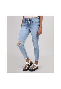 Calça Jeans Feminina Cigarrete Cintura Média Destroyed Com Cinto Cadarço Azul Claro