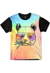 Camiseta Bsc Animais Hipster Panda Sublimada - Masculino-Rosa