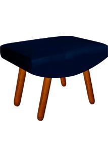 Puff Decorativo Josy Pés Palito Suede Azul Marinho - D'Rossi