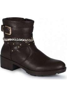 Ankle Boots Feminina Mooncity Corrente Marrom