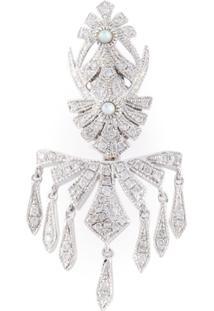 Joëlle Jewellery Brincos Com Banho De Ouro Branco E Diamantes Incrustados - Metálico