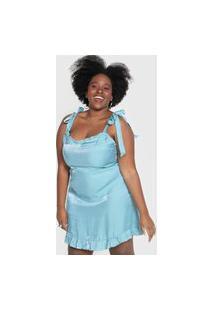 Vestido Forever 21 Plus Curto Babados Azul