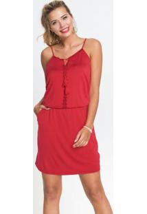 Vestido De Alcinhas Com Renda Vermelho