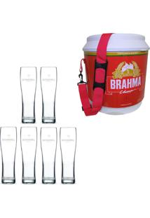 Cooler Térmico Brahma Brasil 20 Litros + 6 Copos De Cerveja Madson Patagonia 500 Ml