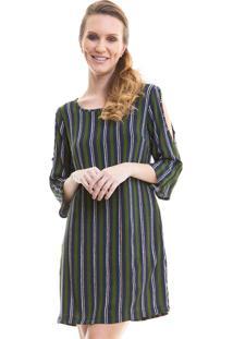 Vestido Curto Com Abertura No Ombro Verde