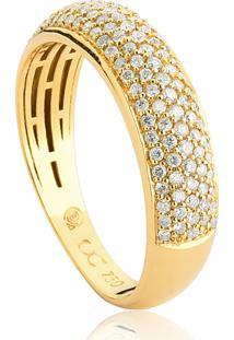 Anel De Ouro 18K Pavê De Diamantes Com Forro-Coleção Catálogo Diamantes.