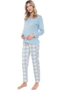 Pijama Pzama Gestante Estampado Azul