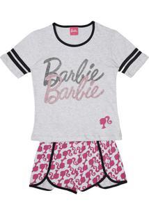Short Doll Barbie® Glitter- Cinza & Rosaevanilda