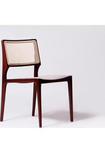 Cadeira Paglia Couro Branco C Castanho