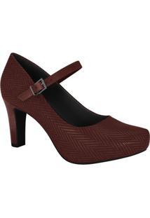 Sapato Tradicional Com Fivela- Vinho- Salto: 7Cmramarim