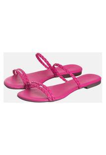 Sandália Rasteira Feminina Bico Quadrado Pink