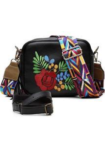 Bolsa Alice Monteiro Transversal Bordado Floral Alça Colorida Feminina - Feminino