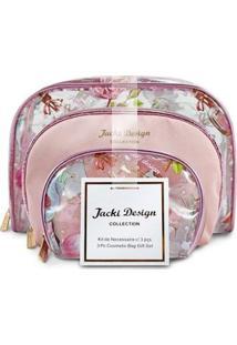 Kit De Necessaire Jacki Design De 3 Peças Feminino - Feminino-Rosa
