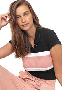 Camisa Polo Lunender Reta Canelada Preta/Rosa