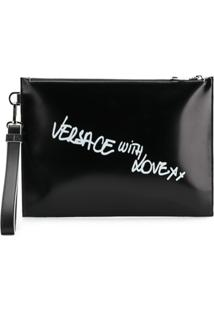 Versace Clutch De Couro 'Versace With Love' - Preto