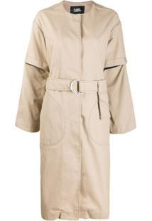 Karl Lagerfeld Trench Coat Com Abotoamento Frontal - Neutro