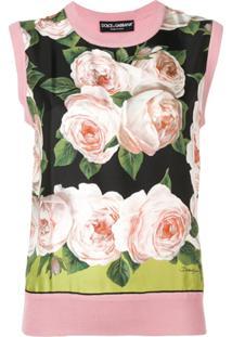 Dolce & Gabbana Blusa Floral De Tricô - Rosa