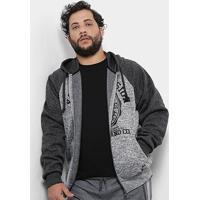 bd26fd0a8 Jaqueta Moletom Plus Size Delkor Fecho Zíper Estampado Masculino -  Masculino-Cinza
