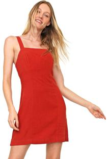 Vestido Linho Cantão Curto Recortes Vermelho