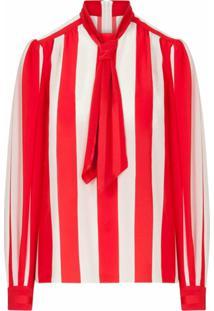 Dolce & Gabbana Blusa Com Listras E Laço Na Gola - Vermelho