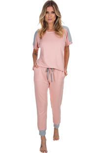 Pijama Com Manga Curta Living Coral