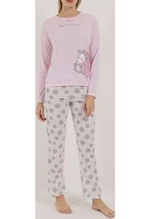 Pijama Longo Feminino Rosa/Off White