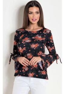 c14eb6775e Blusa Moda Pop Preta feminina. Blusa Mangas Longas Sino Floral