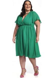 Vestido Lala Dubi Midi Evasê Plus Size Chiffon - Feminino-Verde
