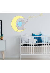 Adesivo De Parede Infantil Elefante Azul Com Estrelas