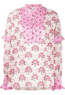 Liberty London Blusa Tana Com Babados - Rosa
