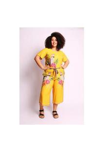 Calça Almaria Plus Size Munny Pantacourt Estampada Amarelo