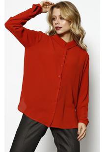 Camisa Texturizada Com Recorte Vazado - Laranja Escurosimple Life