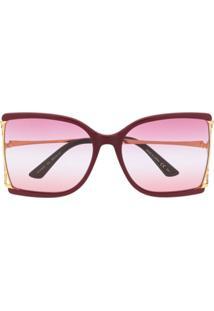 Gucci Eyewear Square-Frame Sunglasses - Vermelho