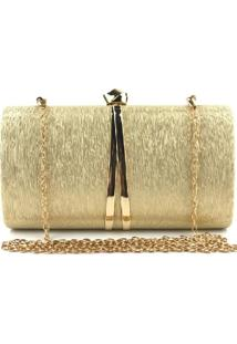 Bolsa Clutch Liage Metal Brilho Retangular Texturizada Alça Alcinha Dourada