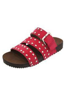 Sandália Birken Em Couro Ravy Store Tachas Pink
