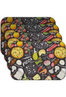 Jogo Americano Love Decor Pizza Kit Com 4 Peças