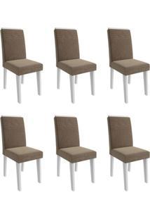 Conjunto Com 6 Cadeiras De Jantar Taís I Suede Branco E Pluma