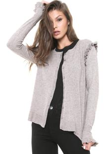 Cardigan Facinelli By Mooncity Tricot Babado Bege