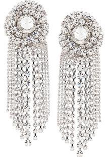 Alessandra Rich Faba Spiral Crystal Clip-On Earrings - Prateado