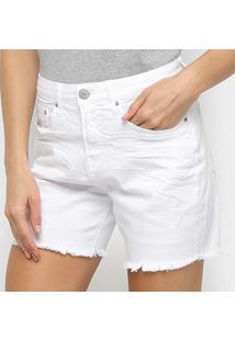 Bermuda Jeans Calvin Klein Feminina - Feminino-Branco