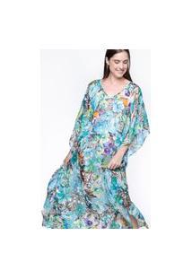 Vestido Kaftan 101 Resort Wear Longo Crepe Floral Az